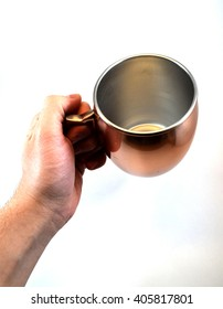 Empty copper Moscow mule mug, isolated