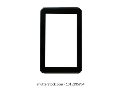 Empty copy space black tablet screen frame isolated on white.