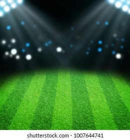 Empty copy space soccer football stadium with iluminated bright lights