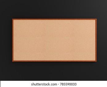 Empty cork board (noticeboard) on gray background. Mockup template - 3D rendering