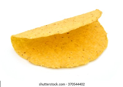 Empty corn taco shell isolated in a white background