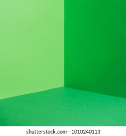 empty corner with green walls and floor
