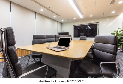 Empty corporate conference room before business meeting