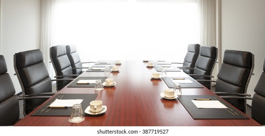 Empty corporate conference room before business meeting in office