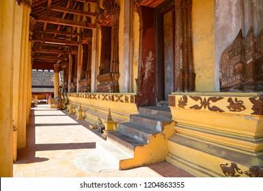 Empty corridor on the sides of Sisaket Temple, Vientiane, Laos.