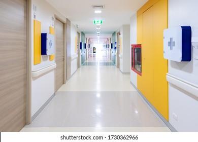 empty corridor at public hospital ,Public building corridor area.