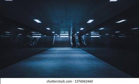 Empty corridor with reflective wall