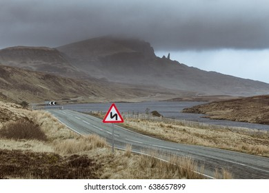 Empty Country Highland Road To The Old Man Of Storr, Isle of Skye, Scotland