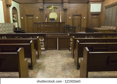 Empty courtroom with judge chair