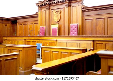 Empty courtroom, with old wooden paneling
