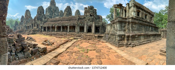 Empty courtyard of Bayon Temple in Angkor Thom in Cambodia.