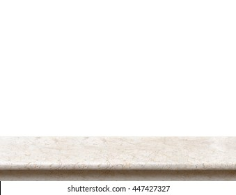 Empty cream marble stone table top isolate on white background, Leave space for placement you background,Template mock up for display of product.