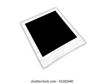 empty crinkled frame isolated on white background