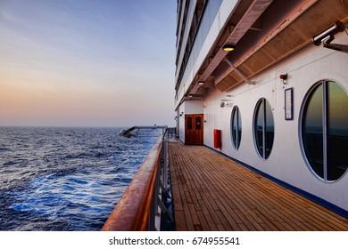 Empty Cruise ship deck at dusk