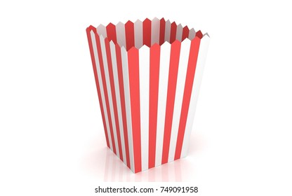 Empty cup of popcorn. 3D render Popcorn bucket isolated on white background