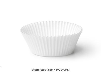 Empty cupcake case isolated on white background