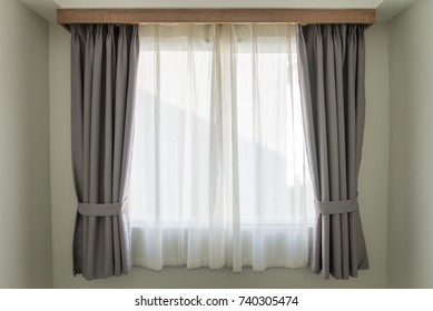 Empty curtain interior in bedroom with sunlight