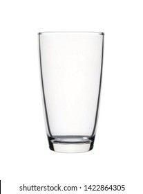 Empty curve shape glass isolated on white background with clipping path.