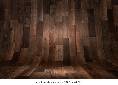 Empty curved wooden floor background, texture with copy space