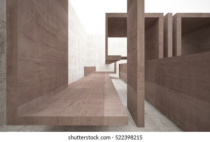 Empty dark abstract brown concrete room interior. Architectural background. 3D illustration and rendering