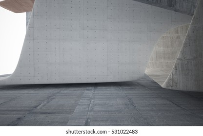 Awesome Empty Dark Abstract Brown Concrete Smooth Interior. Architectural  Background. 3D Illustration And Rendering