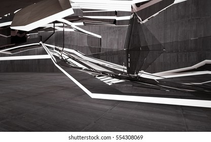 Empty dark abstract brown concrete room interior with glass. Architectural background. Night view of the illuminated. 3D illustration and rendering