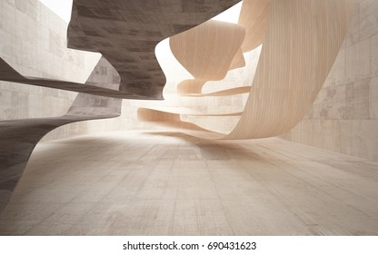Empty dark abstract brown concrete smooth interior with wood . Architectural background. 3D illustration and rendering