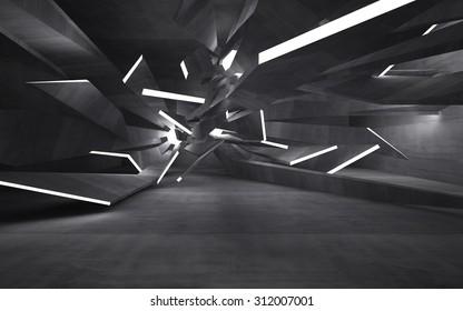 Empty dark abstract concrete room interior. 3D illustration. 3D rendering