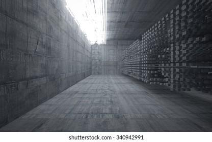 Empty dark abstract concrete room interior