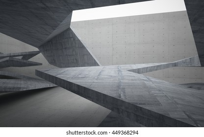 Empty dark abstract concrete room interior. Architectural background. 3D illustration. 3D rendering