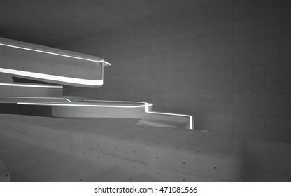 Empty dark abstract concrete room smooth interior. Architectural background. Night view of the illuminated. 3D illustration and rendering