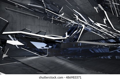 Empty dark abstract concrete room interior with blue glass. Architectural background. Night view of the illuminated. 3D illustration and rendering