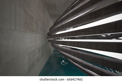 Empty dark abstract concrete room interior with blue water. Architectural background. Night view of the illuminated. 3D illustration and rendering