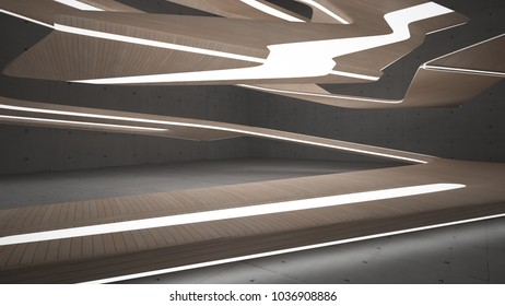 Empty dark abstract concrete and wood room smooth interior. Architectural background. Night view of the illuminated. 3D illustration and rendering