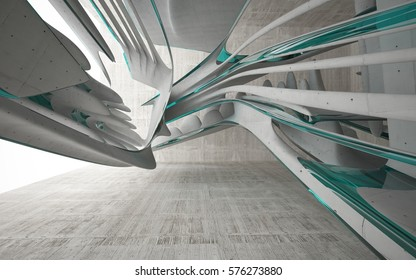 Empty dark abstract glass blue and concrete smooth interior. Architectural background. 3D illustration and rendering