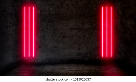 Empty dark abstract room with red fluorescent neon lights. Stage, scene and night club party concept background with copy space for text or product display.