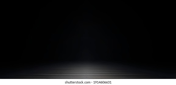 Empty dark abstract wooden plank floor and studio room with smoke float up interior texture for display products wall background.