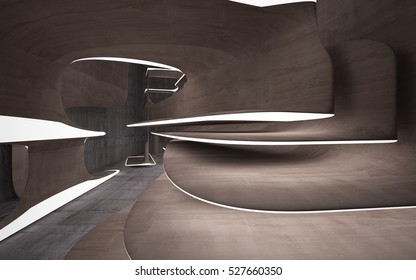 Empty dark brown abstract concrete room smooth interior. Architectural background. Night view of the illuminated. 3D illustration and rendering