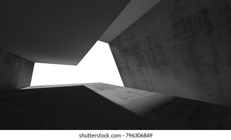 Empty dark concrete interior, blank window opening. Modern minimal architecture background, 3d illustration