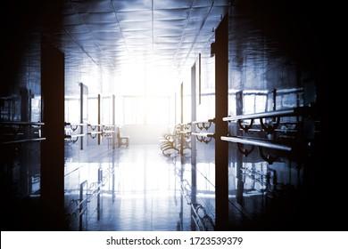 Empty dark corridor in hospital.