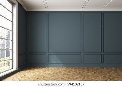 Empty dark gray room interior with light wooden floor, white walls and a large window. Cityscape. 3d rendering, mock up