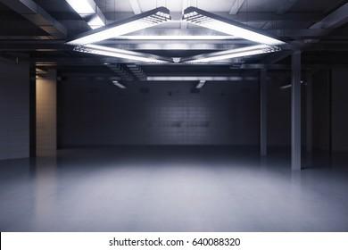 Empty dark grungy room. 3D Rendering