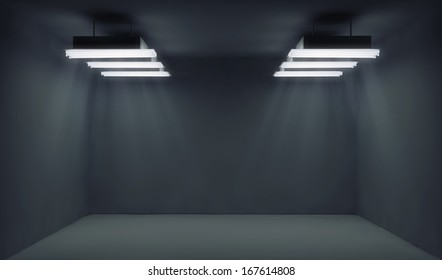Empty dark room with lightrays
