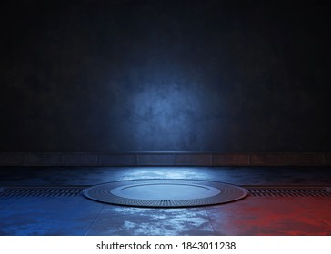 Empty dark room, Modern Futuristic Sci Fi Background. 3D illustration