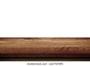 empty dark wooden table isolated on white background, wood floor can used for display or mock up your products.