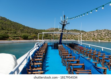 Empty deck of cruise ship at port of Rhodes town, Greece