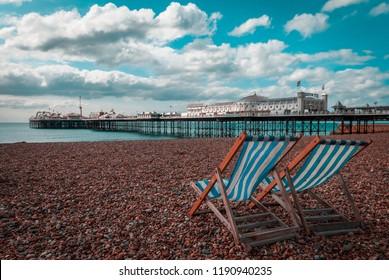 Empty Deckchairs on Beach, Brighton, Sussex, Britain