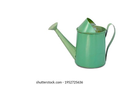 Empty decorative green metal watering can zinc coated with one handle cup isolated on white background. Metallic watering-can use container water to plant a flower in garden. concept of gardening tool