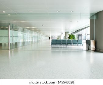 Empty departure lounge at the airport