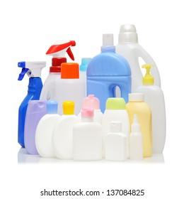 Empty detergent bottles on white background.